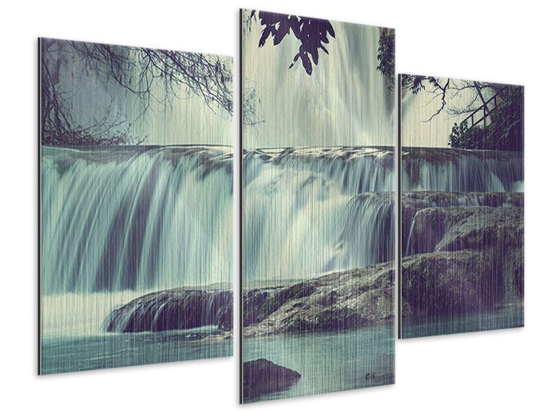 Metallic-Bild 3-teilig modern Wasserfall Mexiko