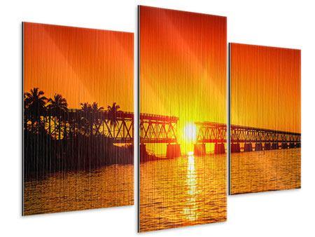 Metallic-Bild 3-teilig modern Sonnenuntergang an der Brücke
