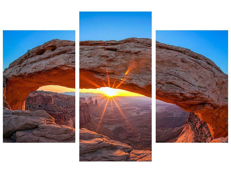 Metallic-Bild 3-teilig modern Sonnenuntergang am Mesa Arch