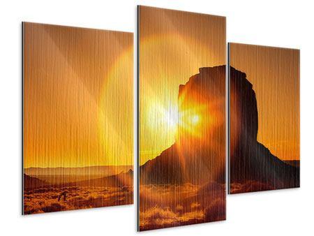 Metallic-Bild 3-teilig modern Sonnenuntergang Monument Valley