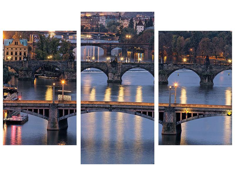 Metallic-Bild 3-teilig modern Brücken in Prag