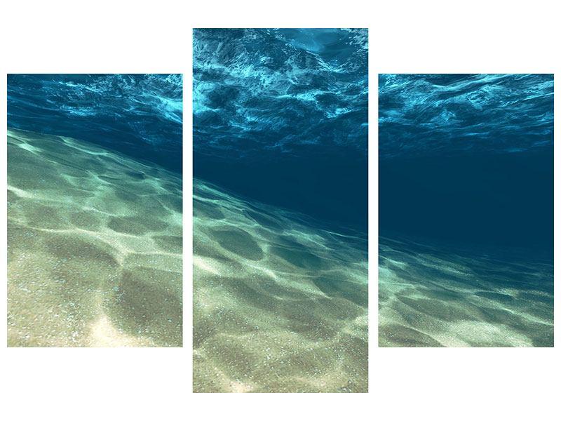 Metallic-Bild 3-teilig modern Unter dem Wasser