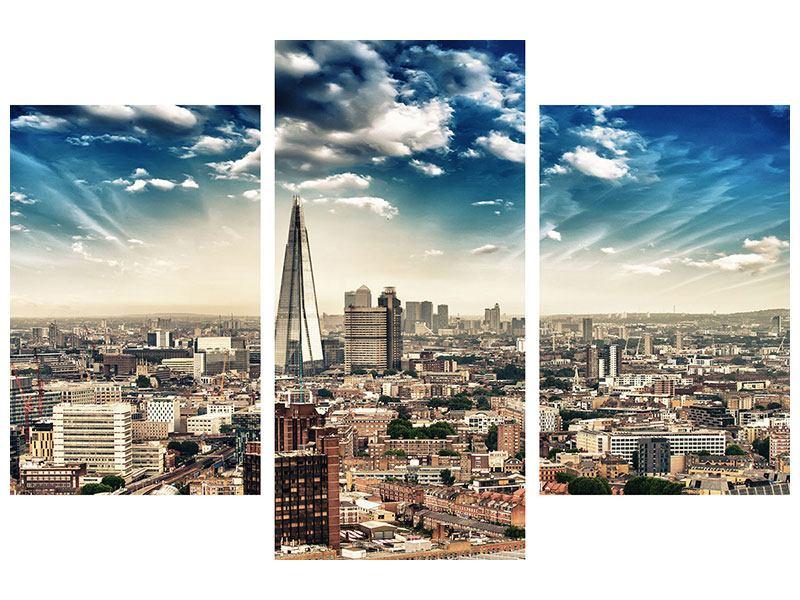 Metallic-Bild 3-teilig modern Skyline Über den Dächern von London