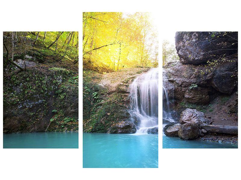 Metallic-Bild 3-teilig modern Fliessender Wasserfall