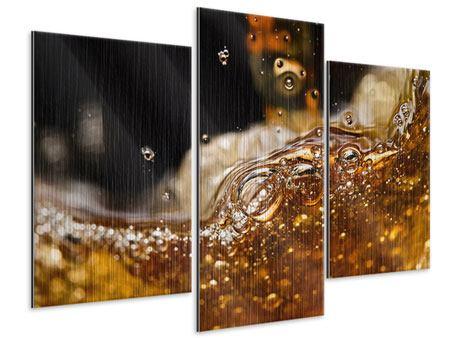 Metallic-Bild 3-teilig modern Cognac