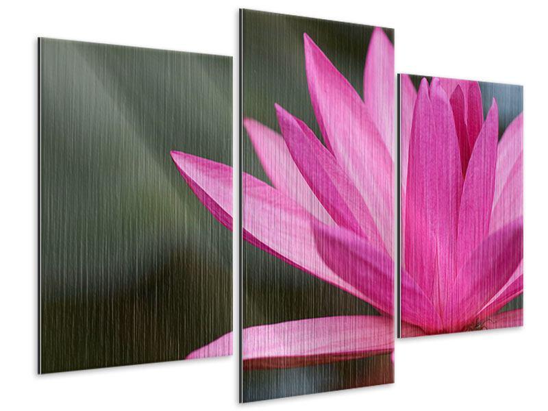 Metallic-Bild 3-teilig modern XXL Seerose in Pink