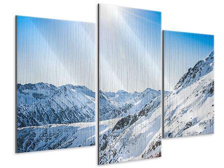 Metallic-Bild 3-teilig modern Bergpanorama im Schnee