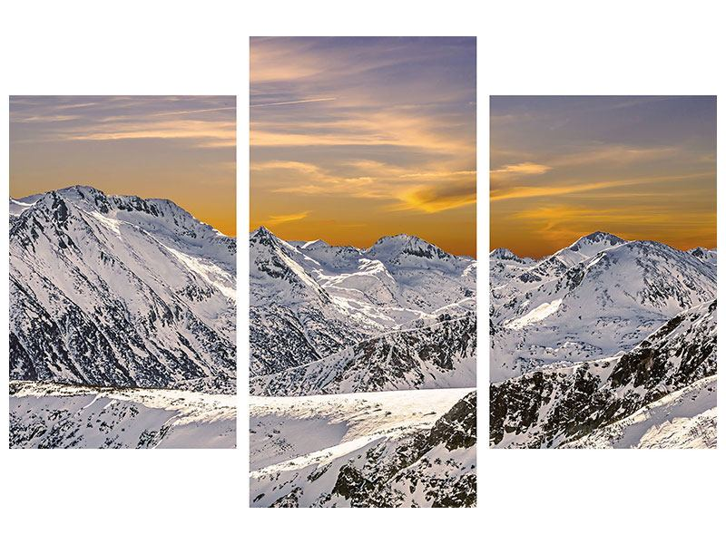 Metallic-Bild 3-teilig modern Sonnenuntergang in den Bergen