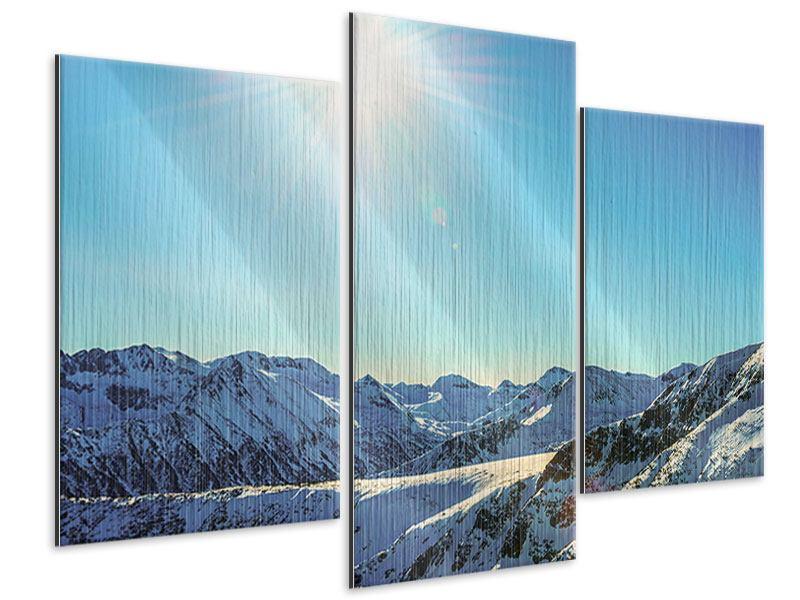 Metallic-Bild 3-teilig modern Sonnige Berggipfel im Schnee
