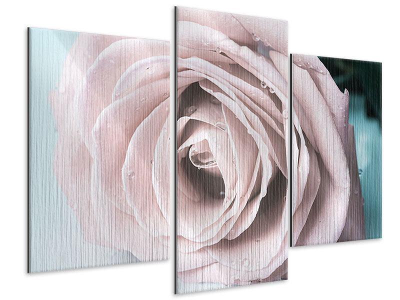 Metallic-Bild 3-teilig modern Pastellrose