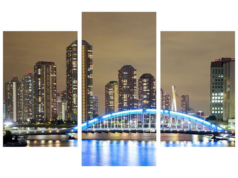 Metallic-Bild 3-teilig modern Skyline Tokio in der Nacht