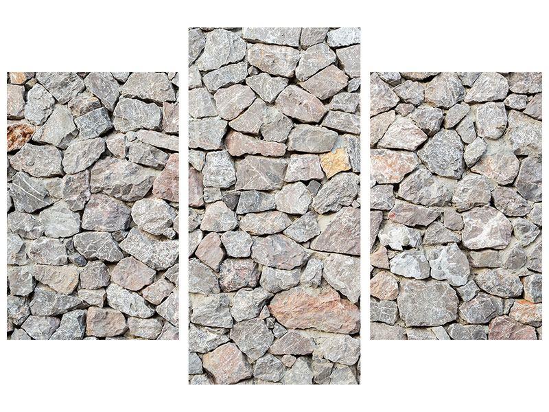 Metallic-Bild 3-teilig modern Grunge-Stil Mauer