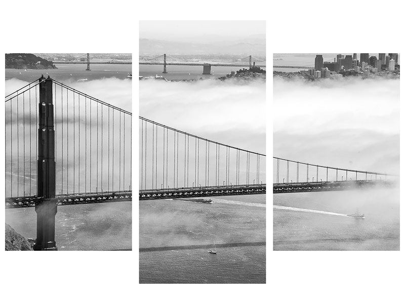 Metallic-Bild 3-teilig modern Golden Gate Brücke
