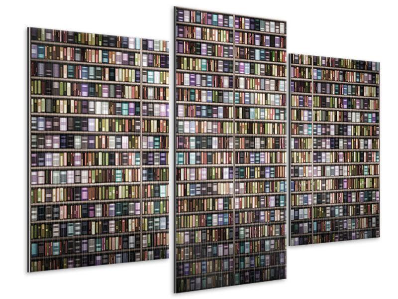Metallic-Bild 3-teilig modern Bücherregal