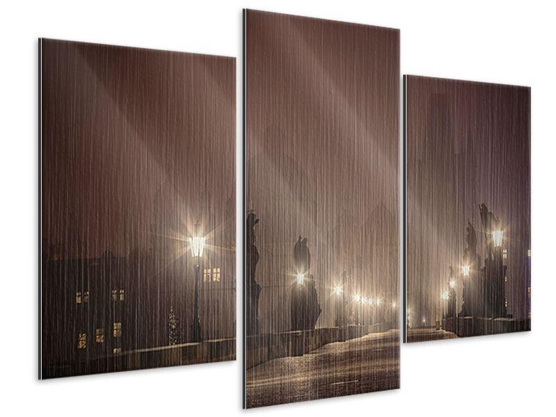 Metallic-Bild 3-teilig modern Die Karlsbrücke bei Nacht