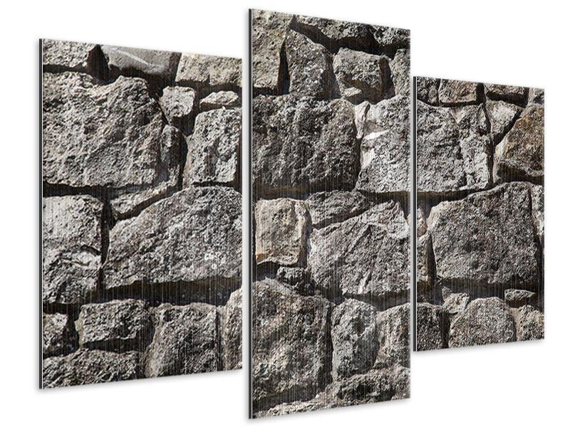 Metallic-Bild 3-teilig modern Grosses Mauerwerk