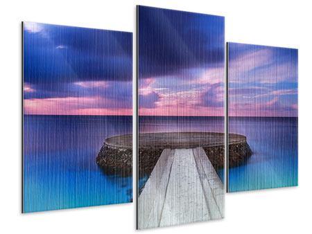 Metallic-Bild 3-teilig modern Meditation am Meer