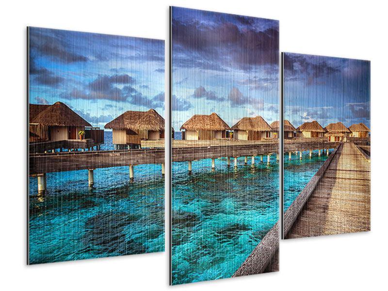 Metallic-Bild 3-teilig modern Traumhaus im Wasser