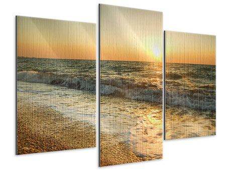 Metallic-Bild 3-teilig modern Sonnenuntergang am Meer