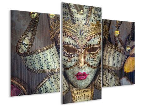 Metallic-Bild 3-teilig modern Venezianische Maske