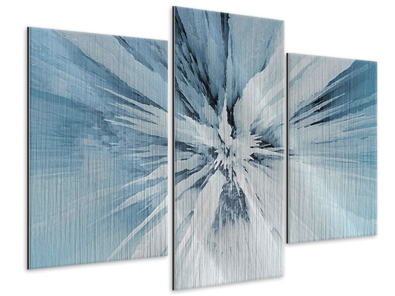 Metallic-Bild 3-teilig modern Eiskunst