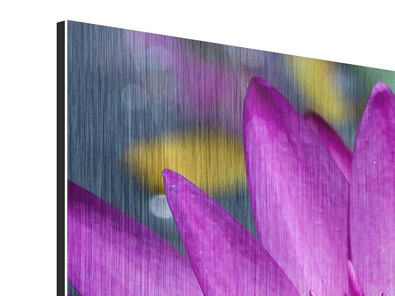 Metallic-Bild 3-teilig modern Makro Seerose in Lila