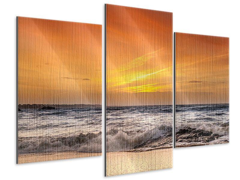 Metallic-Bild 3-teilig modern See mit Sonnenuntergang