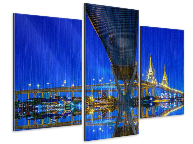 Metallic-Bild 3-teilig modern Bhumiboll-Brücke