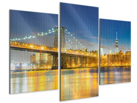 Metallic-Bild 3-teilig modern Brooklyn Bridge bei Nacht