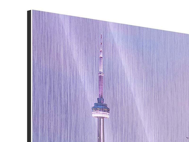 Metallic-Bild 3-teilig modern Skyline Toronto bei Nacht