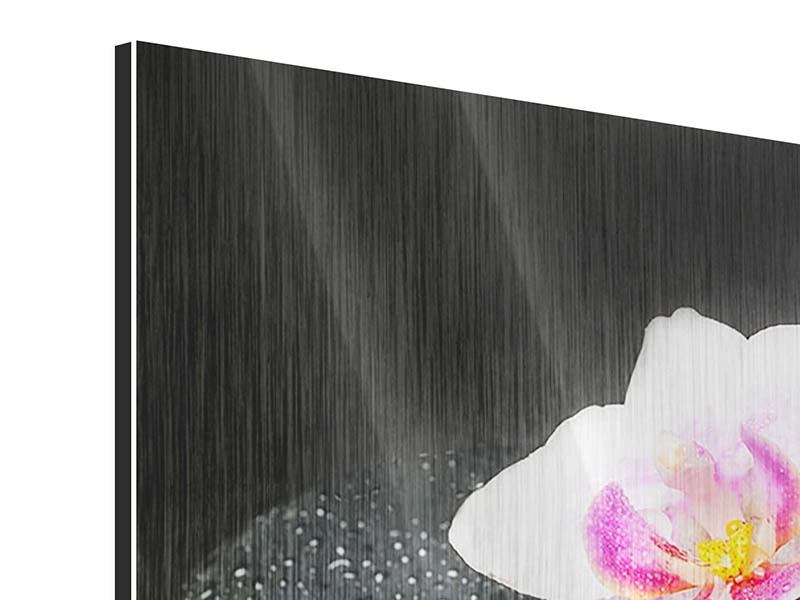 Metallic-Bild 3-teilig modern Feng-Shui-Orchidee Zen