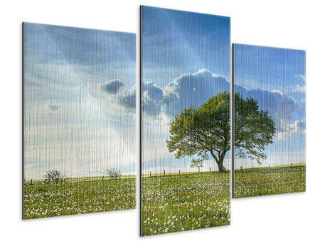 Metallic-Bild 3-teilig modern Frühlingsbaum