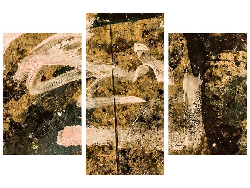 Metallic-Bild 3-teilig modern Writing On The Wall