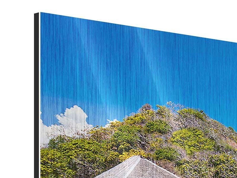 Metallic-Bild 3-teilig modern Das Haus am Strand