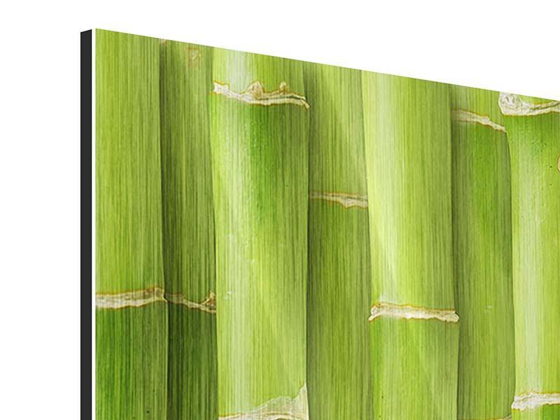 Metallic-Bild 3-teilig modern Bambuswand