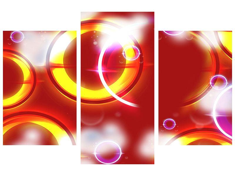 Metallic-Bild 3-teilig modern Abstraktes Retro