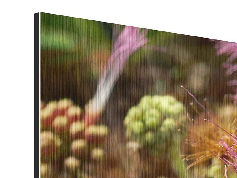 Metallic-Bild 4-teilig modern Die Regenbaumblüte