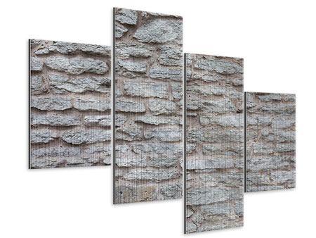 Metallic-Bild 4-teilig modern Steinmauer