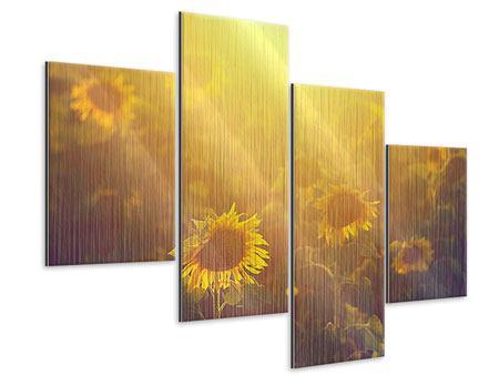 Metallic-Bild 4-teilig modern Sonnenblumen im goldenen Licht