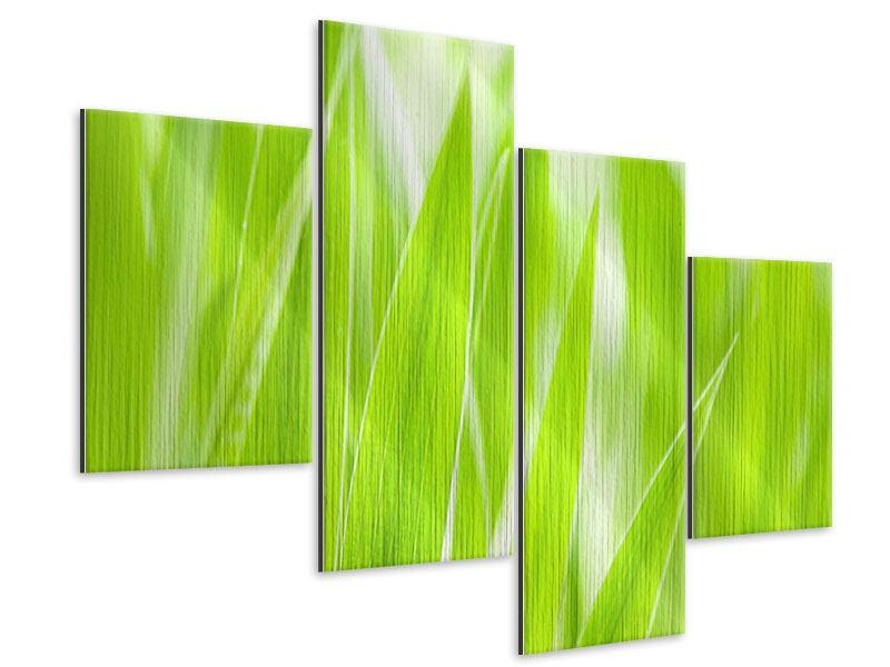 Metallic-Bild 4-teilig modern Gras XXL