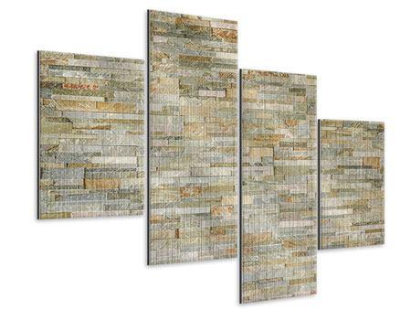 Metallic-Bild 4-teilig modern Edle Steinmauer