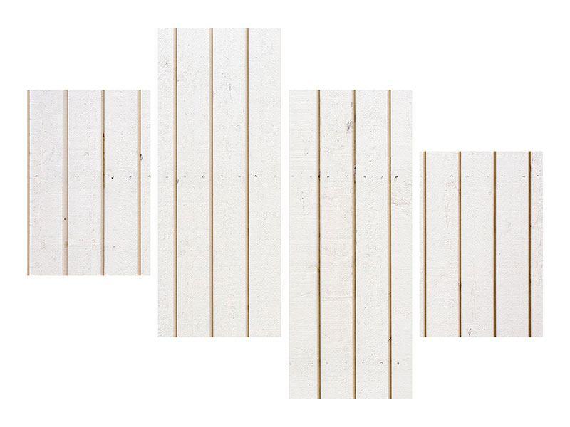 Metallic-Bild 4-teilig modern Mediterranes Holz