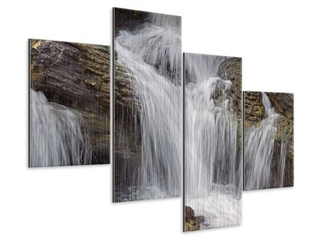 Metallic-Bild 4-teilig modern Wasserfall XXL