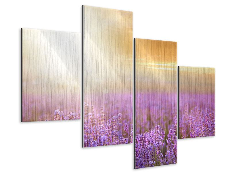 Metallic-Bild 4-teilig modern Sonnenuntergang beim Lavendelfeld