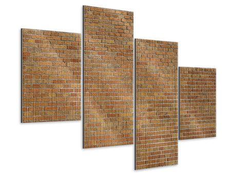 Metallic-Bild 4-teilig modern Backsteinhintergrund