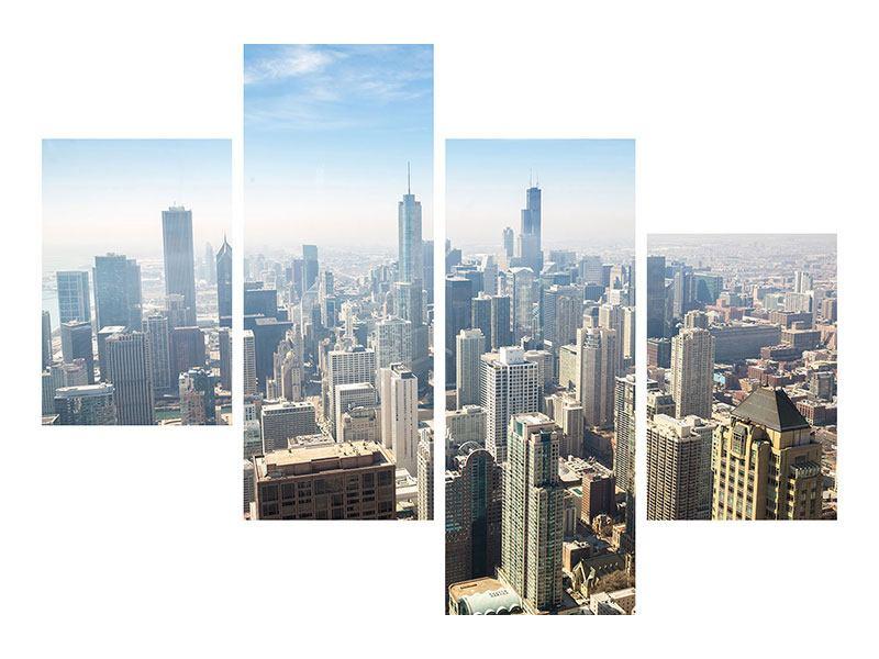Metallic-Bild 4-teilig modern Wolkenkratzer Chicago