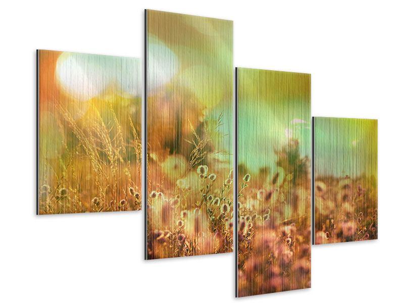 Metallic-Bild 4-teilig modern Blumenwiese in der Abenddämmerung