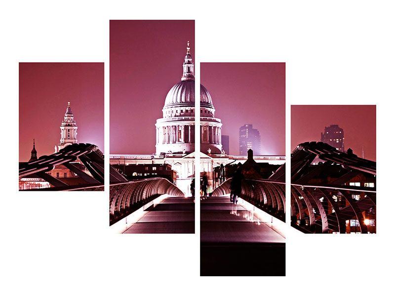 Metallic-Bild 4-teilig modern Millennium Bridge