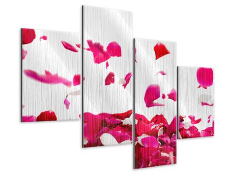 Metallic-Bild 4-teilig modern Für mich soll`s rote Rosen regnen