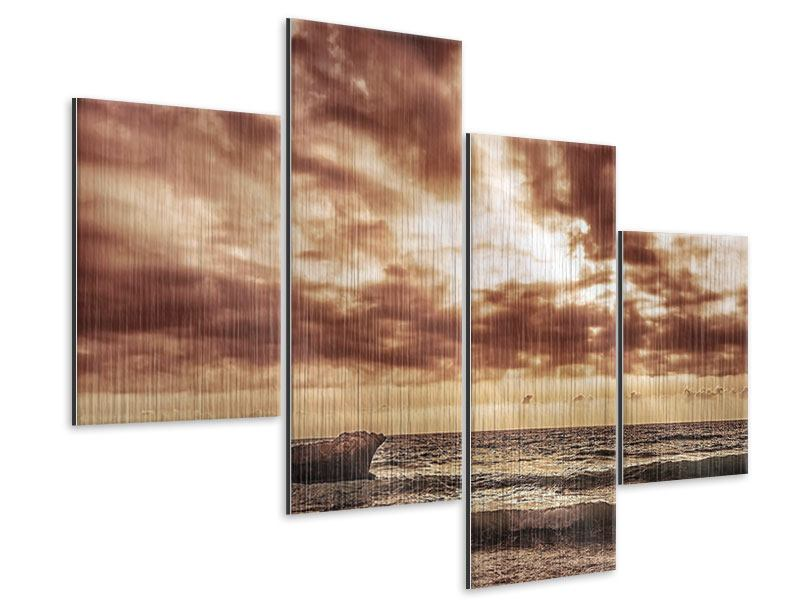 Metallic-Bild 4-teilig modern Meeresrauschen